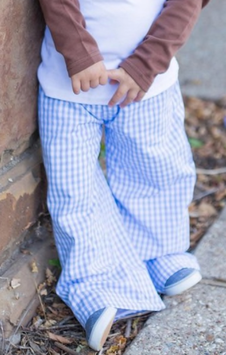 White Dogwood Boys Blue Gingham Pants