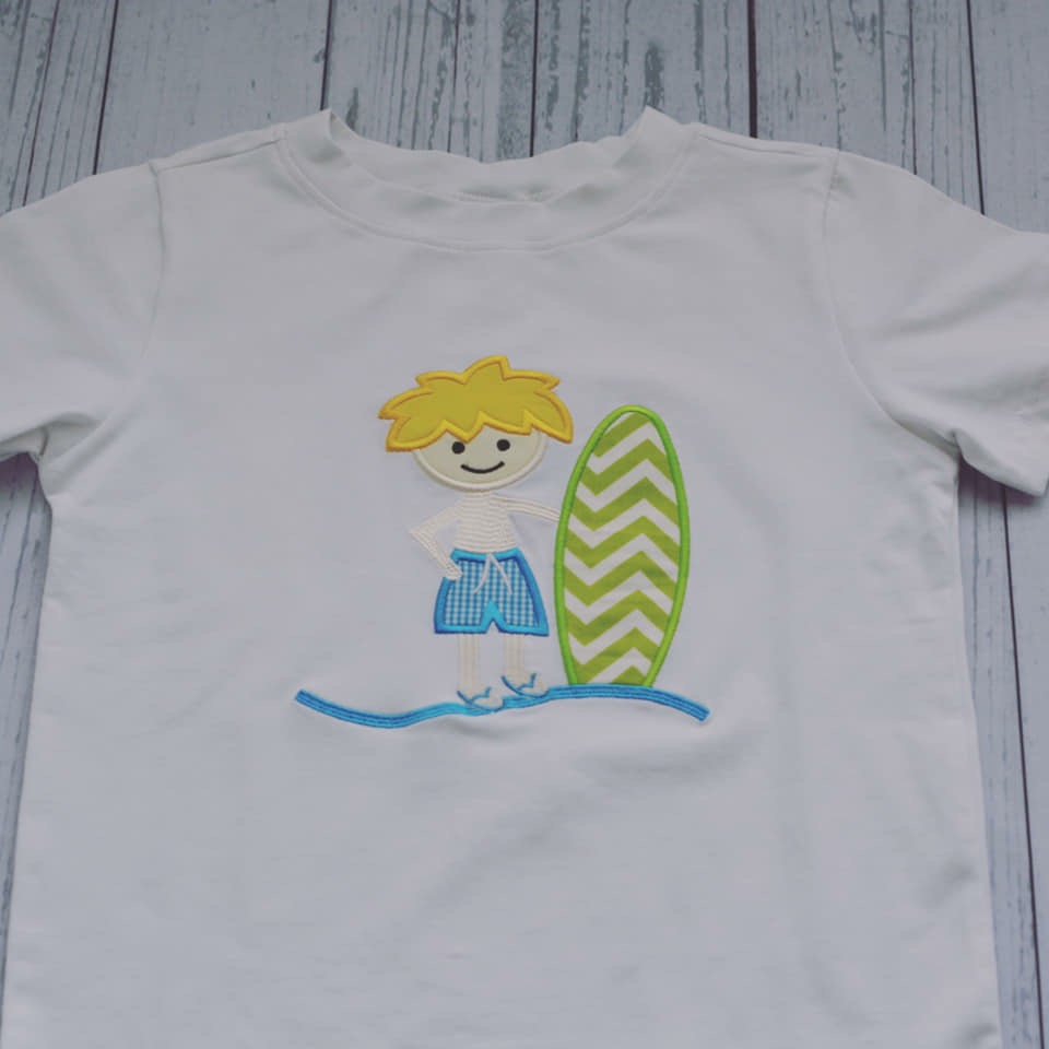 White Dogwood Boys Surfer Appliqué