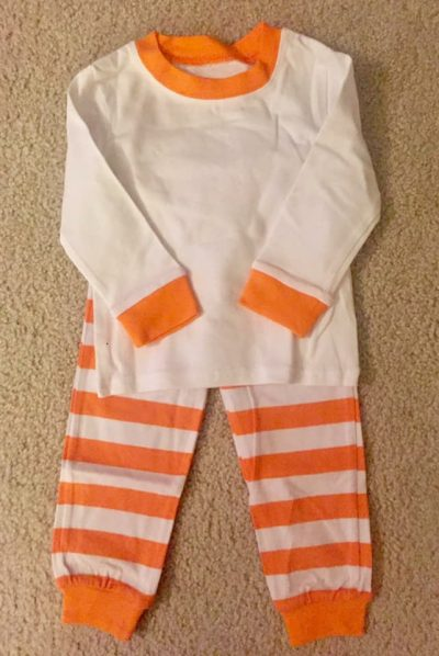 Orange and white monogram jammies