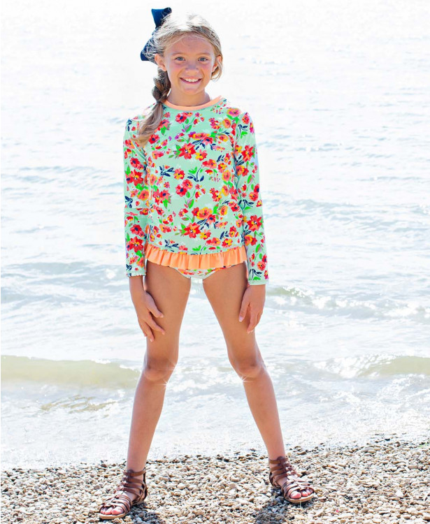 Ruffle Butts Painted Flowers Long Sleeve Rash Guard Bikini