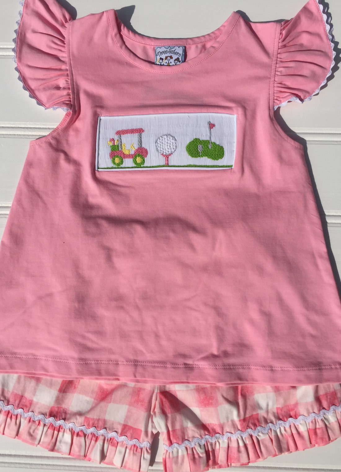 Three Sisters Hole In One Smocked Angel Sleeves T-Shirt & Shorts