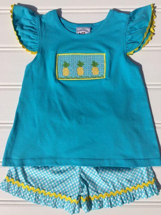 Three Sisters Pineapple Crush Smocked A/S T-Shirt & Shorts
