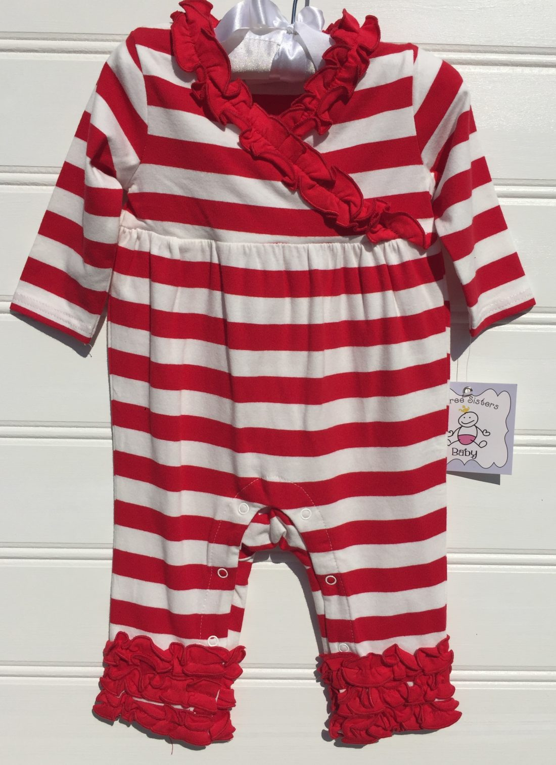 Three Sisters Red and White Girls Knit Romper. The White Dogwood