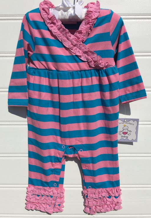 Pink and Turquoise Girls Knit Romper. Three Sisters. The White Dogwood