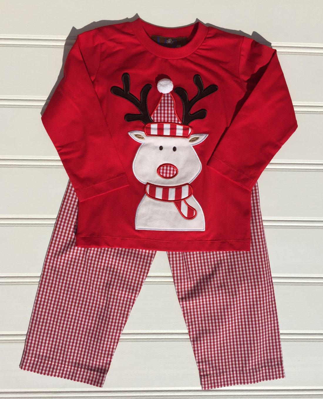 Millie Jay Reindeer Applique Boys Pant Set
