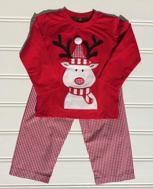 Millie Jay Reindeer Applique Boys Pant Set