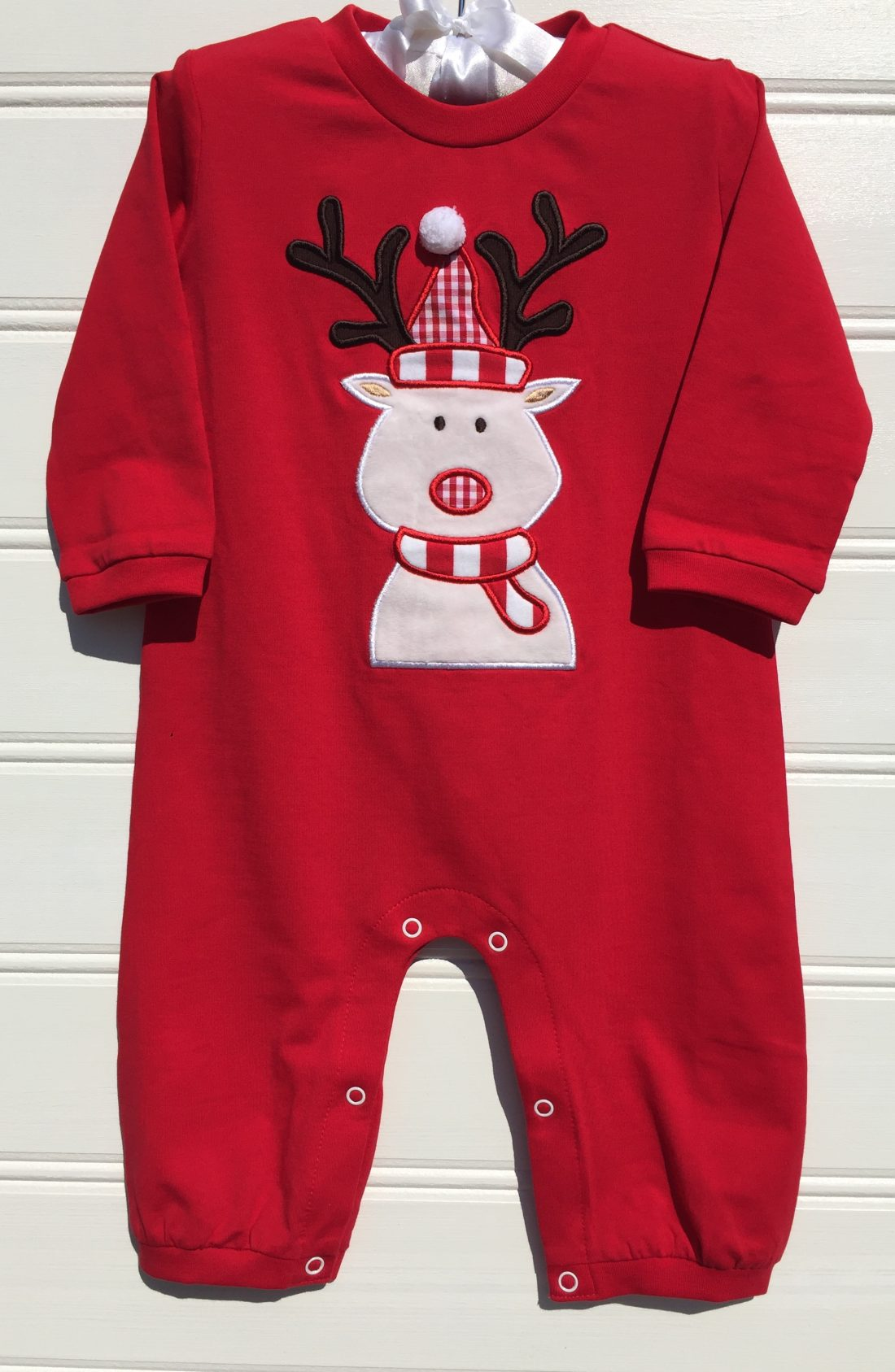 Mille Jay Christmas Reindeer Applique Boys Knit Romper. The White Dogwood