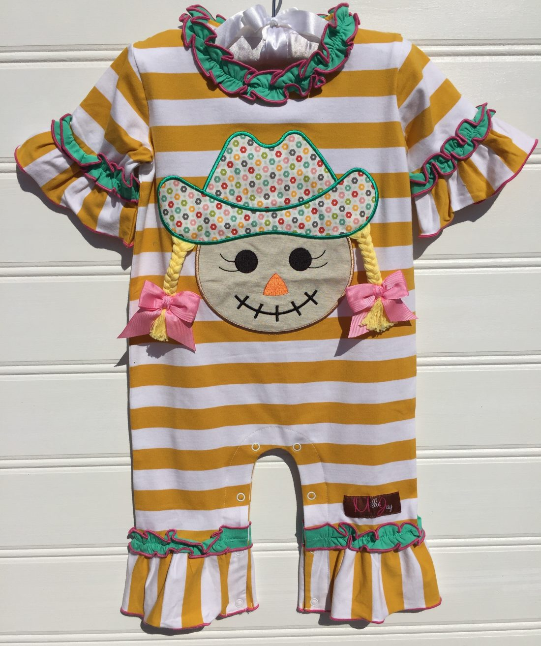 Scarecrow Girl Applique Romper Millie jay