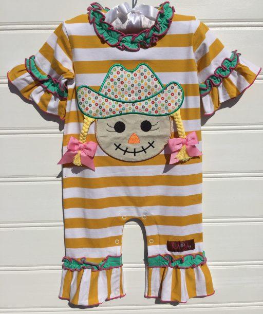 Scarecrow Girl Applique Romper Millie jay