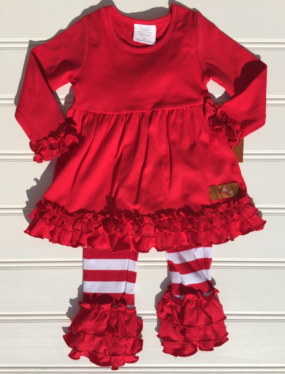Millie jay Red white stripe Christmas ruffle pantset. The white dogwood
