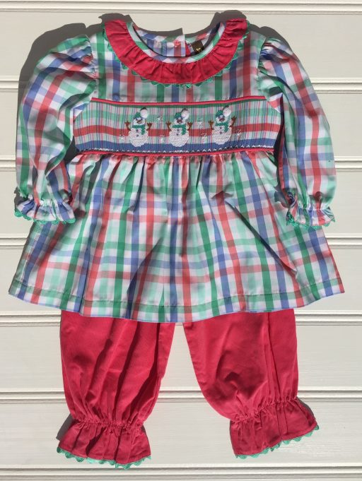 Banana Split Snow Day Smocked Pantaloon Set. The White Dogwood