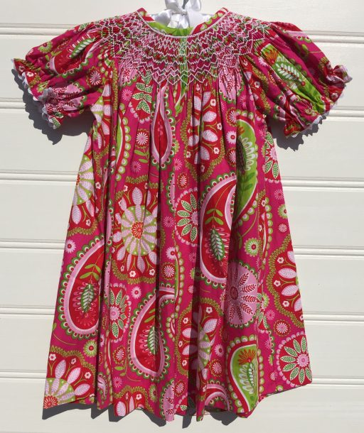 Three Sisters Pink Paisley Smocked Bishop. The White Dogwood