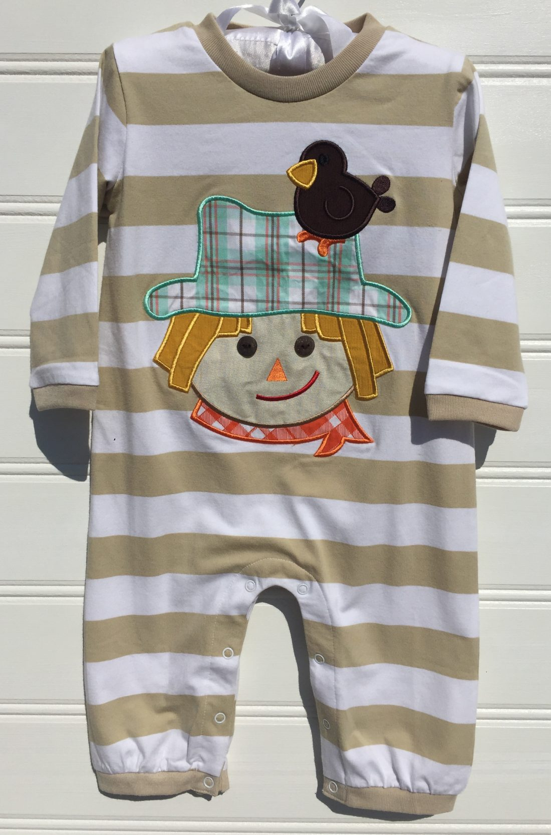 Millie jay Scarecrow Boy Applique Romper. The White Dogwood