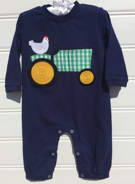 Millie jay Tractor Applique Boys Knit Romper. The White Dogwood
