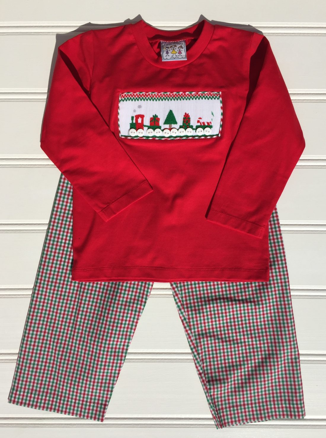 Christmas Train Smocked Boys Pant Set Three Sisters