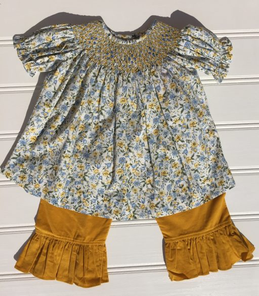 Banana Split Mustard Floral Smocked Bishop Top Ruffle Pant Set. The White Dogwood